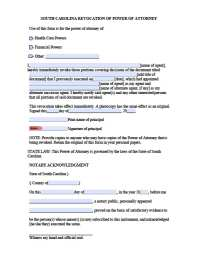 South Carolina Revocation Power of Attorney Form - Power ...