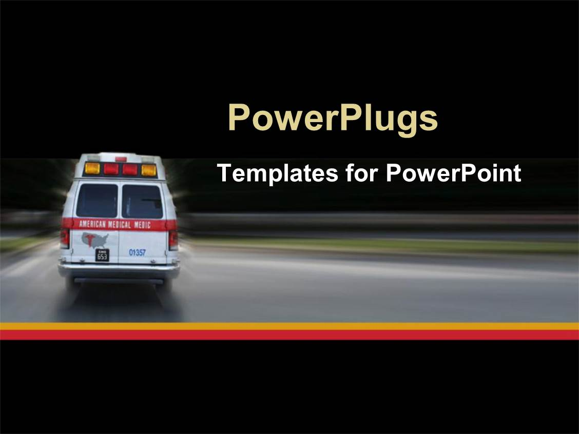 Powerpoint Template Ambulance Going To Hospital For