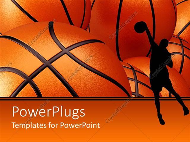 PowerPoint Template Basketball player shadow against basketballs - basketball powerpoint template