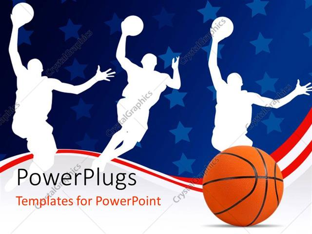 PowerPoint Template Basketball with silhouette of basket players - basketball powerpoint template