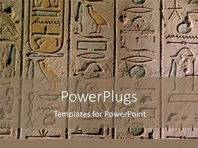 PowerPoint Template egyptian hieroglyphics craved in stone for - history powerpoint template