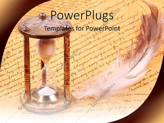PowerPoint Template old fashioned hourglass and feather with - history powerpoint template