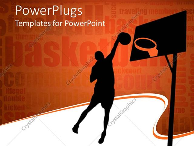 PowerPoint Template silhouette of basketball player throwing ball - basketball powerpoint template