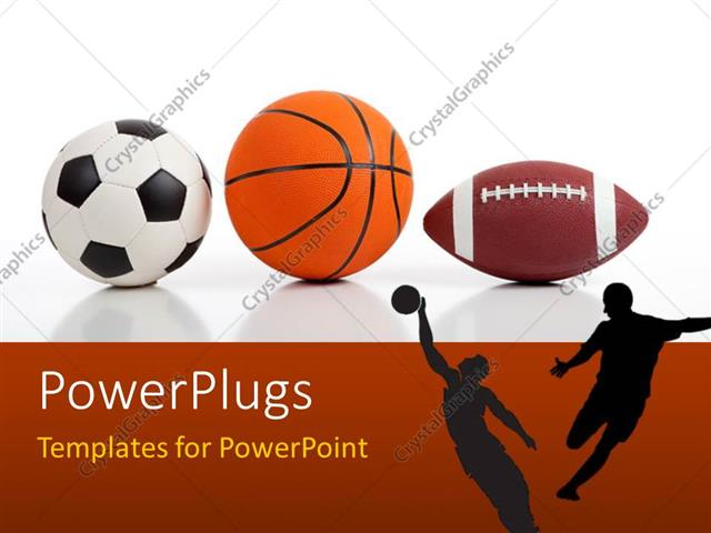 PowerPoint Template Sports equipment on white including a - basketball powerpoint template