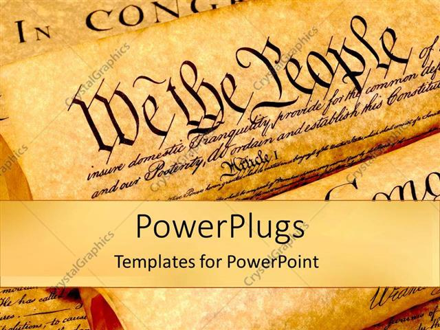 PowerPoint Template the united states of american constitution - history powerpoint template