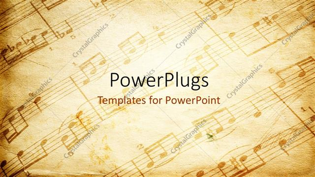 PowerPoint Template vintage paper background depicting music - music staff paper template
