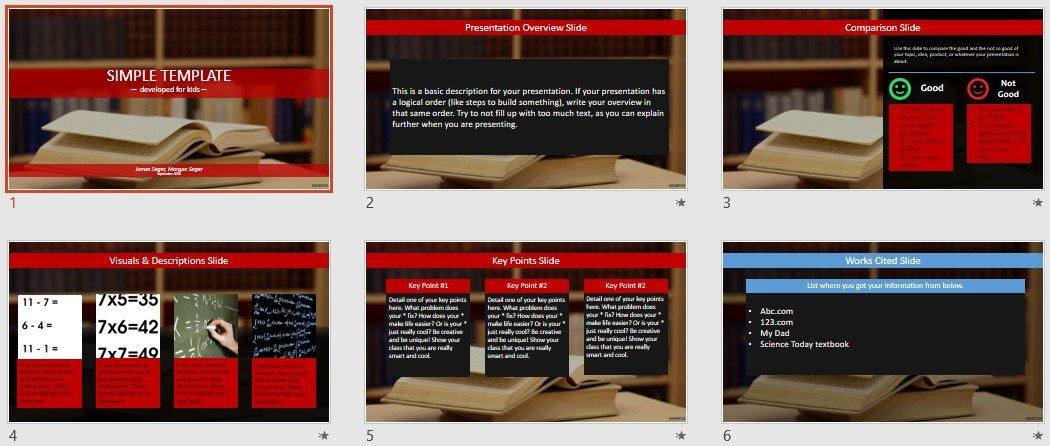 Free Simple Kids PowerPoint \u2013 books #85636 SageFox Free PowerPoint