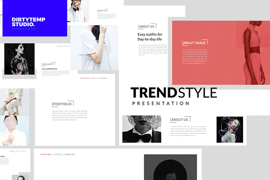 TRENDS Free Powerpoint Template for Portfolio Presentations