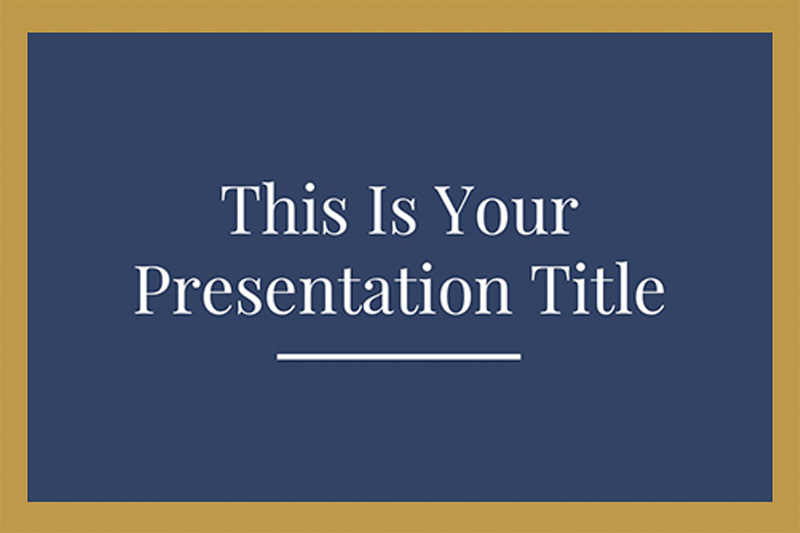 Blue and Gold Elegance Free Powerpoint Template - navy powerpoint templates