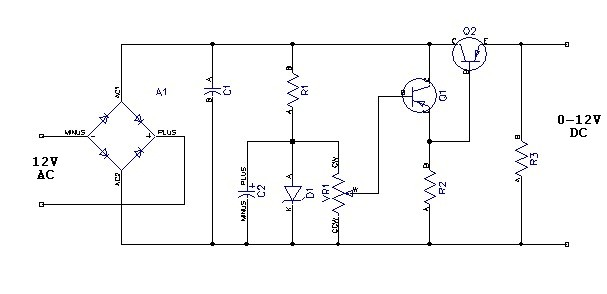 variable power supply using 7805 electronic circuits and diagram
