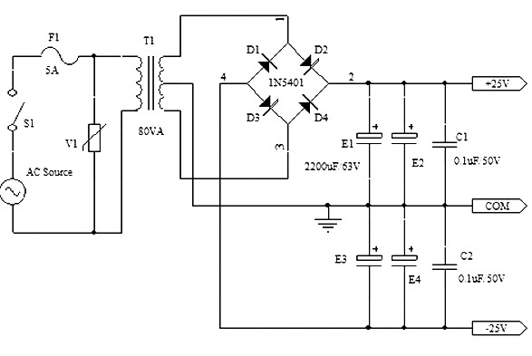 simple symmetrical power supply  25v -25v