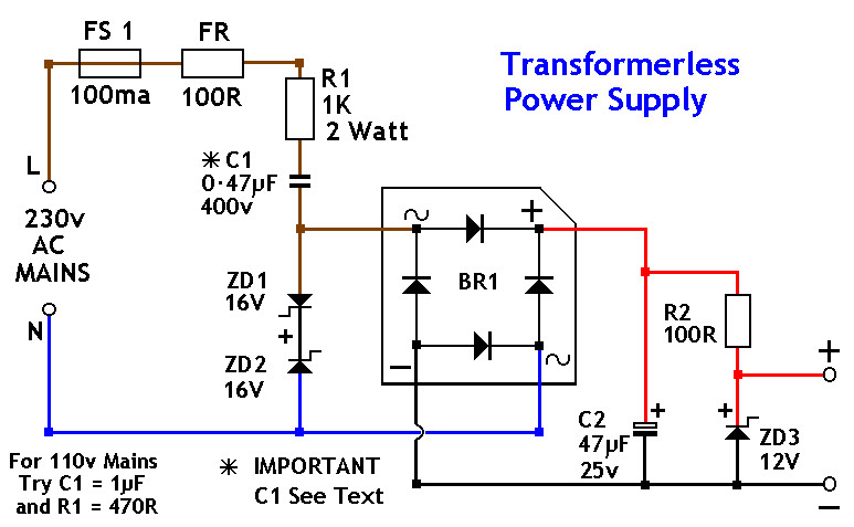 12V DC Power Supply without Transformer - Power Supply Circuits