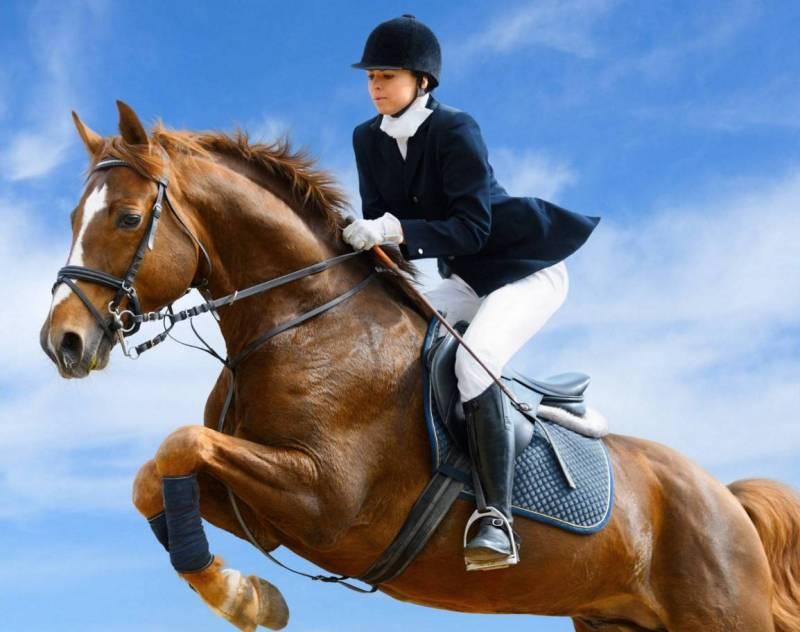 Прыжок на лошади.