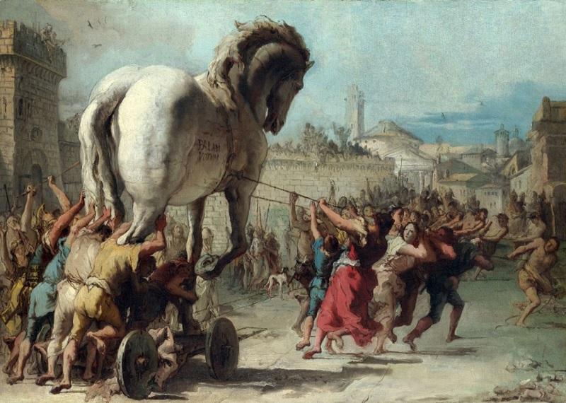 Троянский конь, Троянский конь картина художника, картины Джованни Доменико Тьеполо