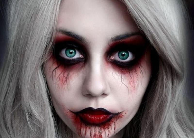 образ вампира на Хэллоуин, макияж вампир, Простой макияж Хэллоуин