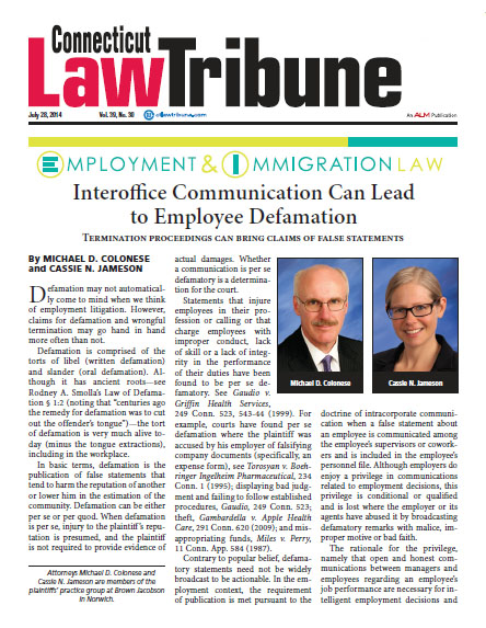 Interoffice Communication Can Lead to Employee Defamation - Brown
