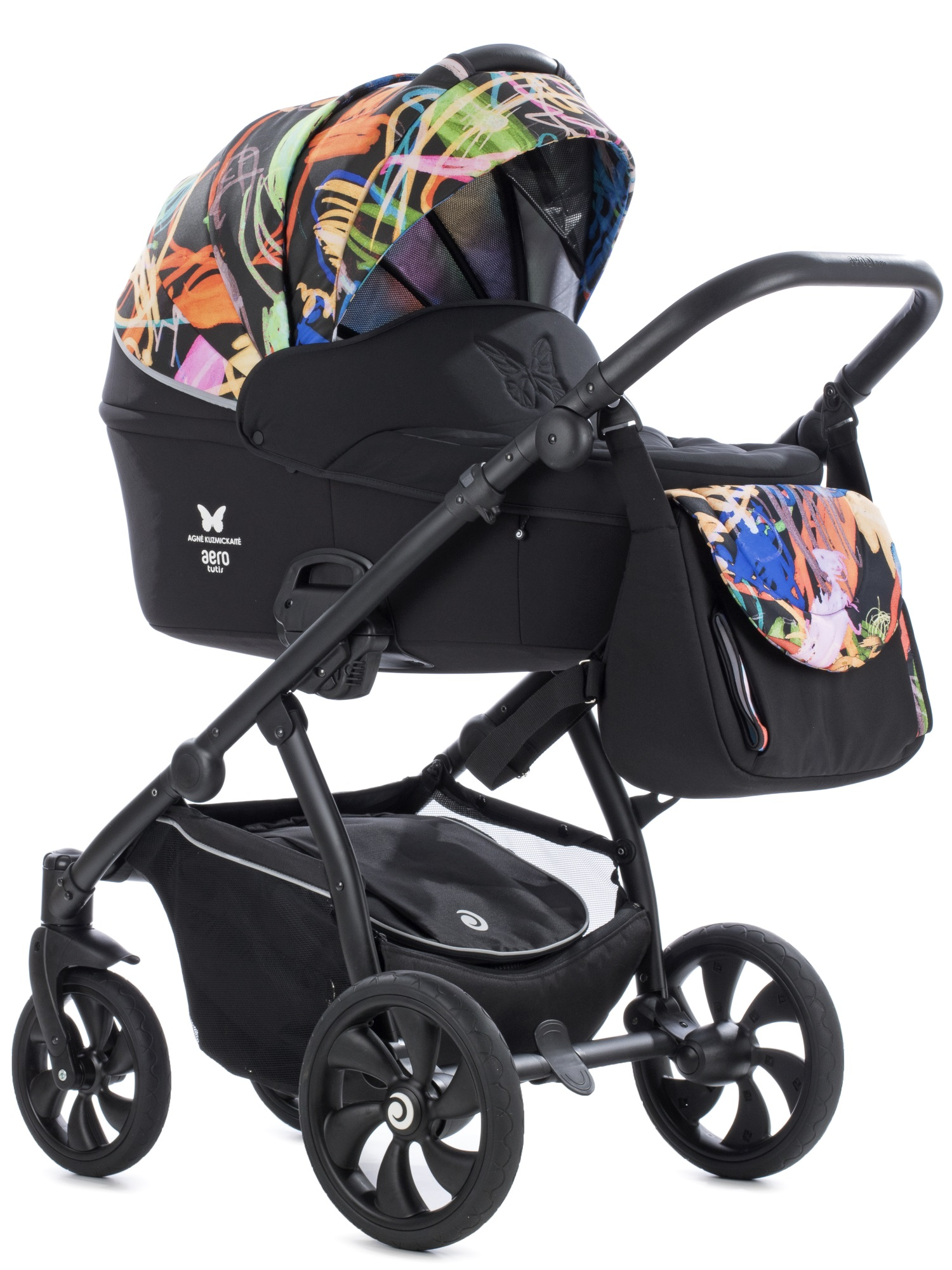 Baby Stroller That Turns Into Car Seat Aero Tutis 119 Black Painting Agnė Kuzmickaitė Limited