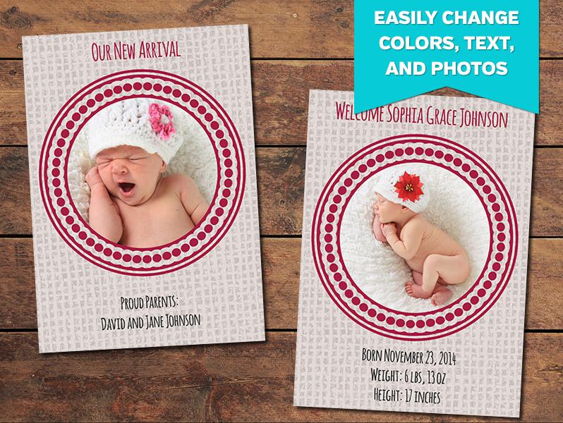 Birth Announcements, Print Templates Canvas Birth Announcement - birth announcement template