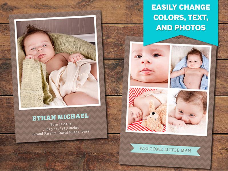 Birth Announcements, Print Templates Chocolate Birth Announcement - birth announcement template