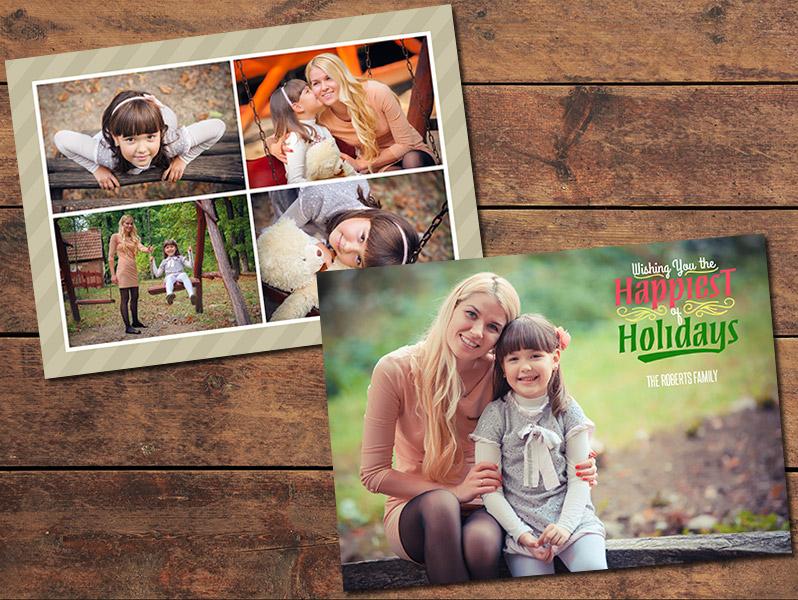 Christmas Cards, Print Templates Collage Christmas Card Template
