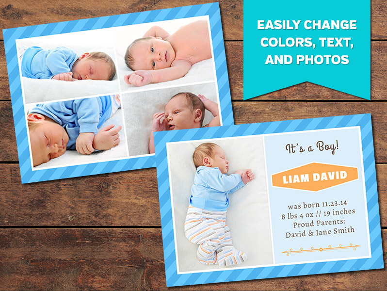 Birth Announcements, Print Templates Collage Birth Announcement