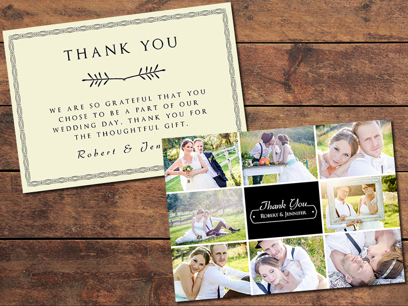 Print Templates, Wedding Thank You Cards Collage Thank You Card