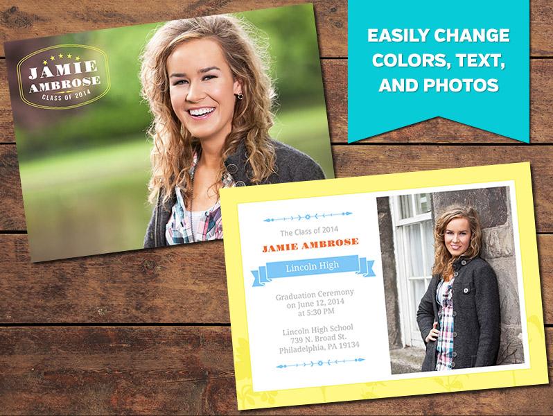 Graduation Announcements, Print Templates Lively Graduation - print grad cards