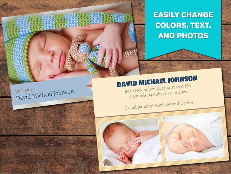 Birth Announcements, Print Templates Ribbon Birth Announcement
