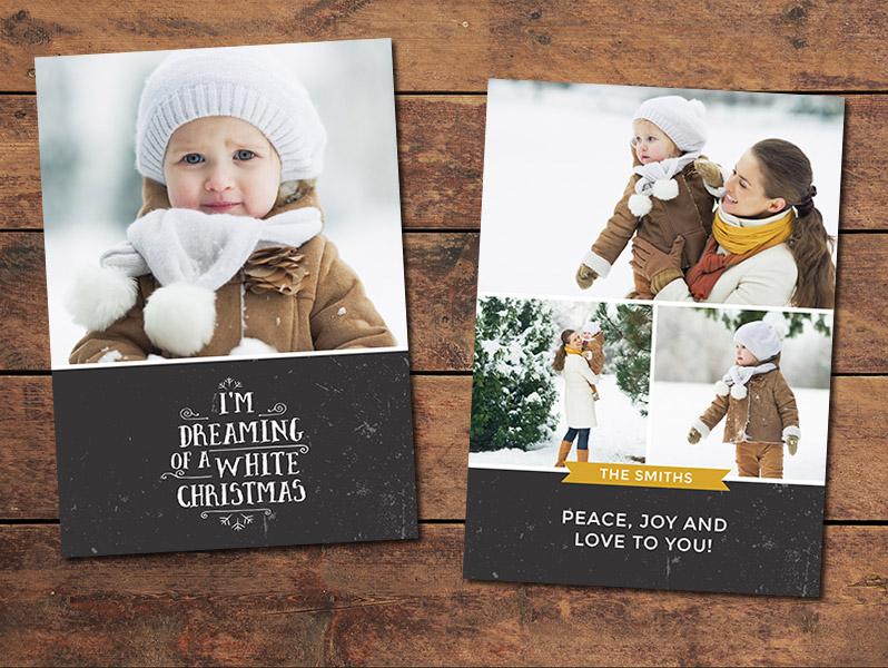 Christmas Cards, Print Templates White Christmas Card Template - card templates for pographers