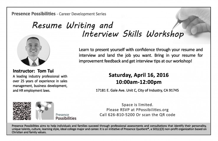 Resume Writing  Interview Skills Workshop Presence Possibilities