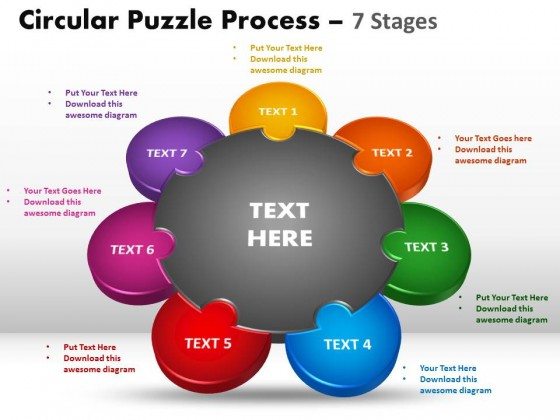 PowerPoint Template Circular Puzzle Process PPT Slides