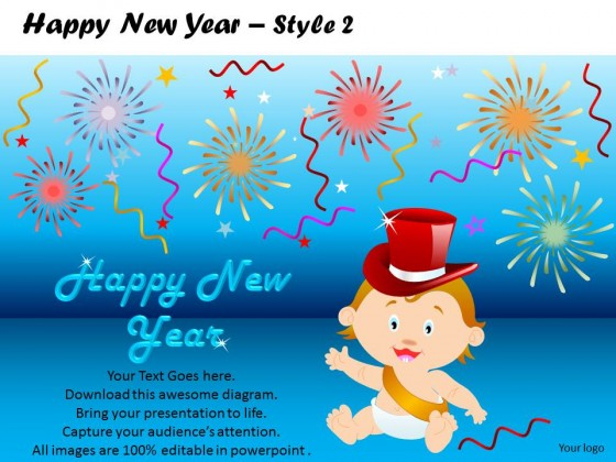 PowerPoint Template Education Happy New Year PPT Slides