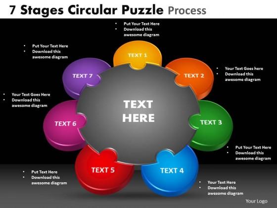 PowerPoint Template Teamwork Circular Puzzle Process