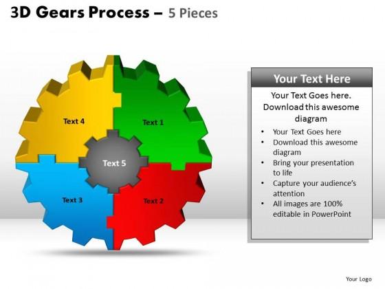PowerPoint Template Teamwork Gear Process PPT Slides