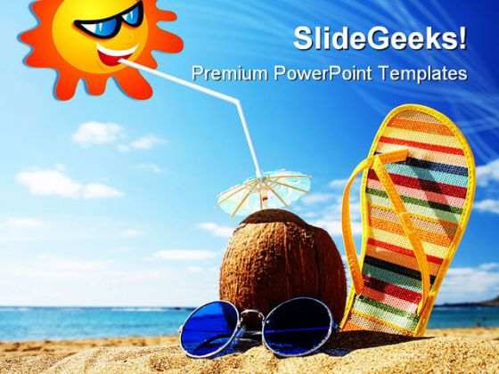 Beach Scene Holidays PowerPoint Backgrounds And Templates 1210 - summer powerpoint template