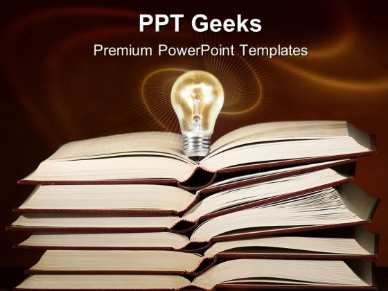 Blub Lightens Over Books Education PowerPoint Templates And
