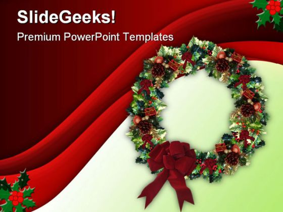 Decorated Wreath Christmas PowerPoint Template 0610 - christmas powerpoint template
