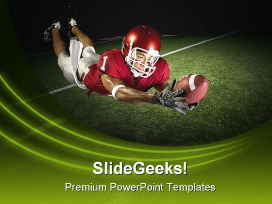 Football Victory Catch Sports PowerPoint Template 1110 - football powerpoint template