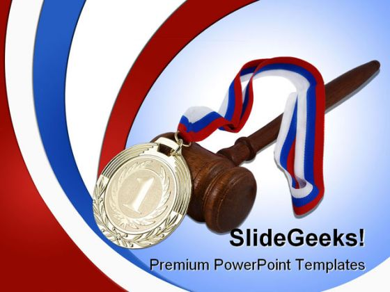 Gold Medal And Judge Gavel Law PowerPoint Background And