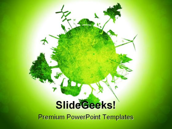 Green Planet Environment PowerPoint Template 0810