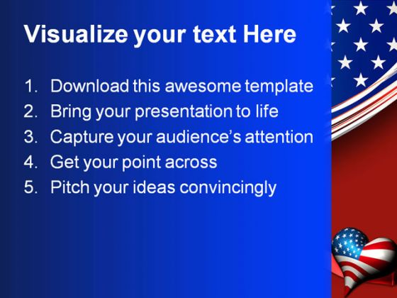 Patriotic Love Heart Americana PowerPoint Template 1010