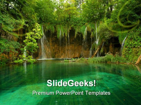 Pond Beauty Nature PowerPoint Template 1110 - nature powerpoint