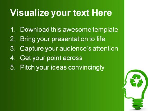 Recycling Brain Business PowerPoint Template 0810 - recycling powerpoint templates