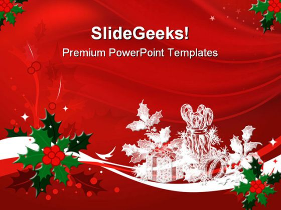 Red Christmas PowerPoint Template 0610 - christmas powerpoint template