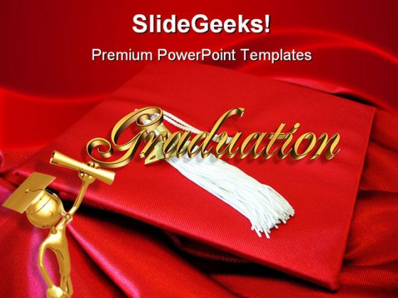 Red Graduation Cap Education PowerPoint Backgrounds And