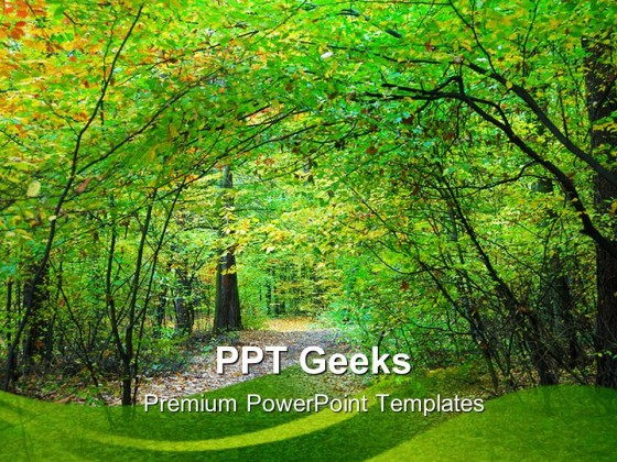 Way Through Forest Nature PowerPoint Templates And PowerPoint