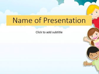 Children in a garden - child\u0027s template for presentation
