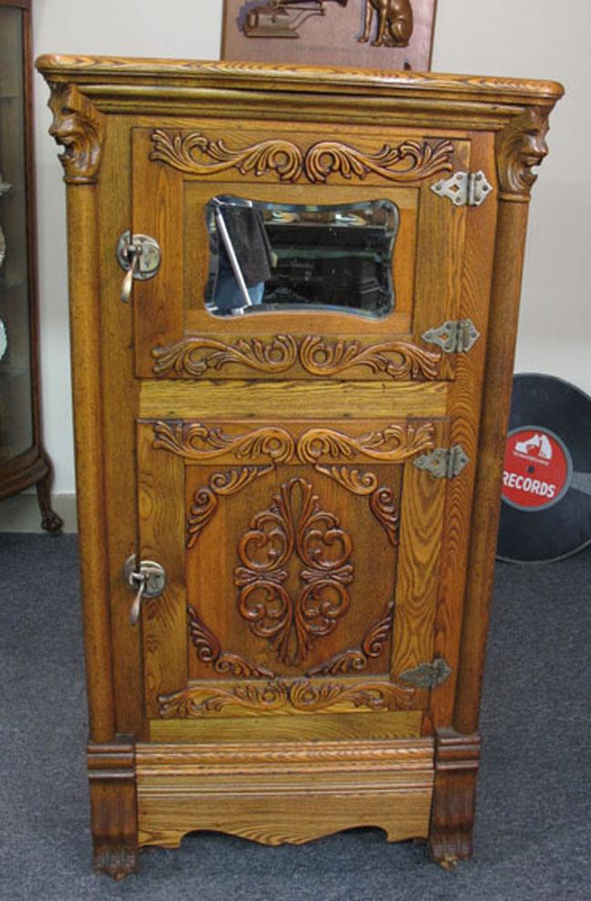 Oak Victorian Lion Head Ice Box