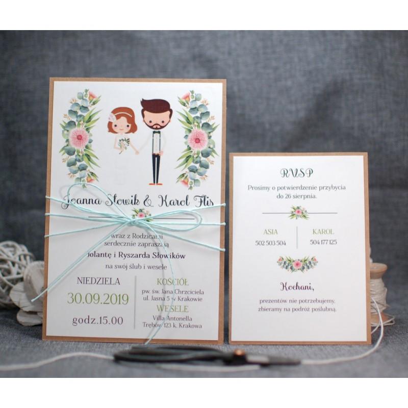 zaproszenia ślubne rustykalne - PRACOWNIA MANUFAKTURA