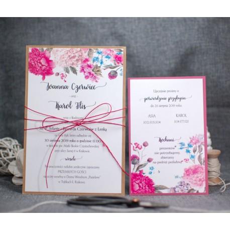 Zaproszenia ślubne otwarte/jednokartkowe - PRACOWNIA MANUFAKTURA